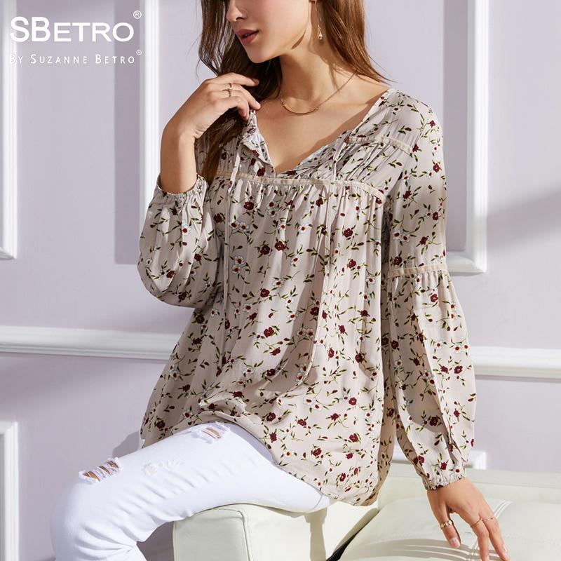SBetro By Suzanne Betro Print Floral Women Blouse Velvet Trim Tie Notch Neck Long Sleeve Tunic Top Bohemian Ladies Blouses Shirt