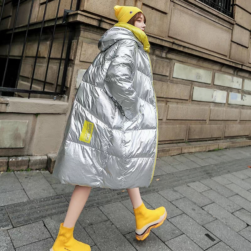 Fashion Metal Silver Winter Coat Women Oversized Loose Hooded Long Jacket Female   Parkas   2019 New Arrival Cotton Padded   Parka