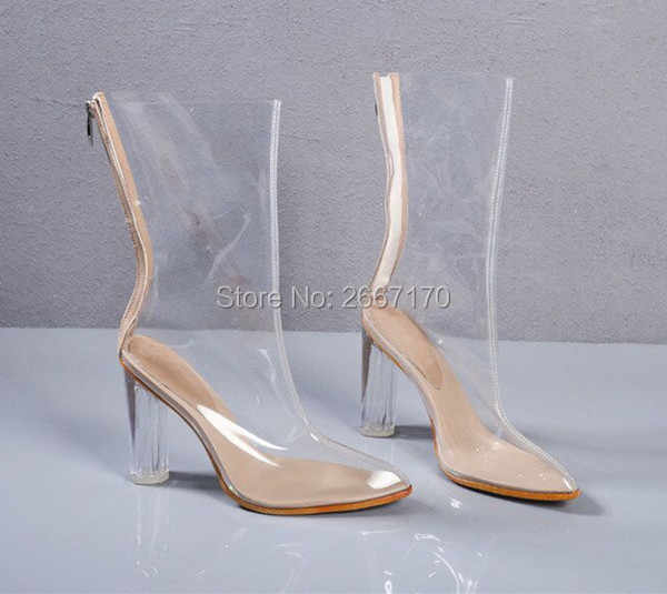 011a70b37a9 ... LTTL Chaussure Femme Clear Heel Transparent Boots Plastic Women  Mid-Calf Booties Pointed Toe Perspex ...