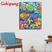 Gohipang 동물 다채로운 물고기 오일 그림 페인트 캔버스 벽 예술 홈 장식 40*50 센치메터 색칠 번호