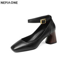 NEMAONE 2019 Women ankle strap High Heeled shoes Genuine Leather Summer Female square Toe Shoes Woman Ladies Gladiator pumps