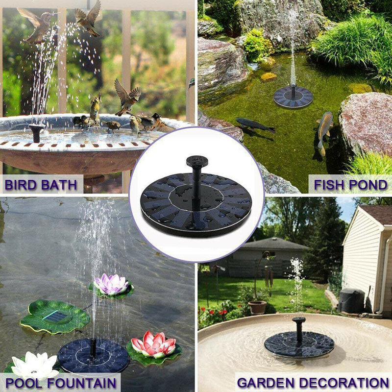 Image 4 - Water Floating Solar Powered Fountain Pump Solar Fountain Pump Brushless Bird Bath Fountain Pump Kit With Different Spray Heads-in Fountains & Bird Baths from Home & Garden