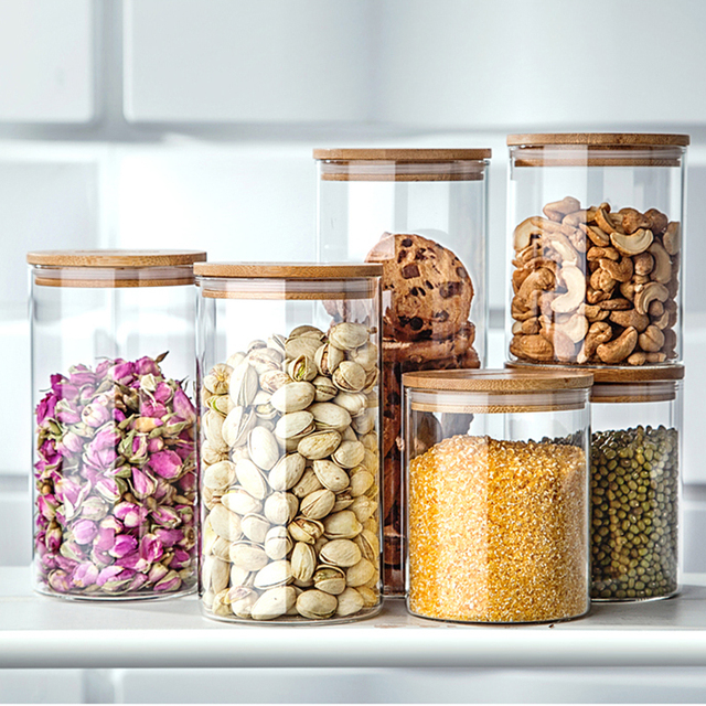 750ml heat resistant glass jars for storage container for tea coffee sugar storage jars decorative glass - Decorative Glass Jars