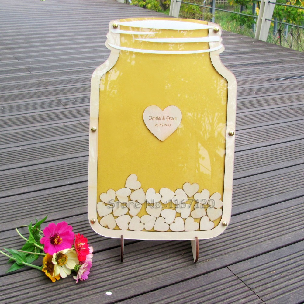 Caixa de Livro De Convidados Do Casamento Da Gota Costumes Guest Book Alternativa personalizado Frasco de Pedreiro Gota Caixa de livro de visitas 40x26 cm