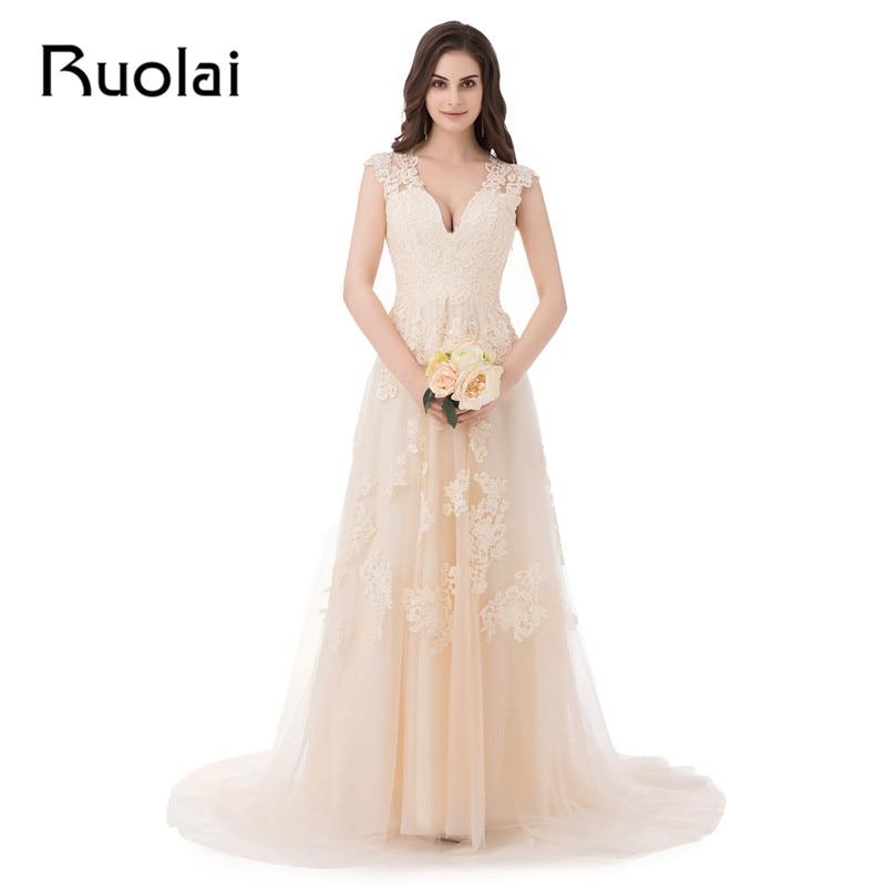 Stvarna slika Jeftina vjenčana haljina V - izrez A - Line Appliques Til Sweep Vlak Duga vjenčanica Svadbene haljine