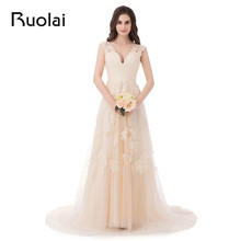 Real Image Cheap Wedding Dress V-neck A-Line Appliques Tulle Sweep Train Long Wedding Dress Bridal Gowns Vestido de Novia FW14