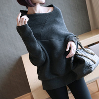 Irregular Collar Sweater Women Winter Female Off Shoulder Batwing Sleeve Pullovers Knitwear Warp 2018 Plus Size Befree Cloth