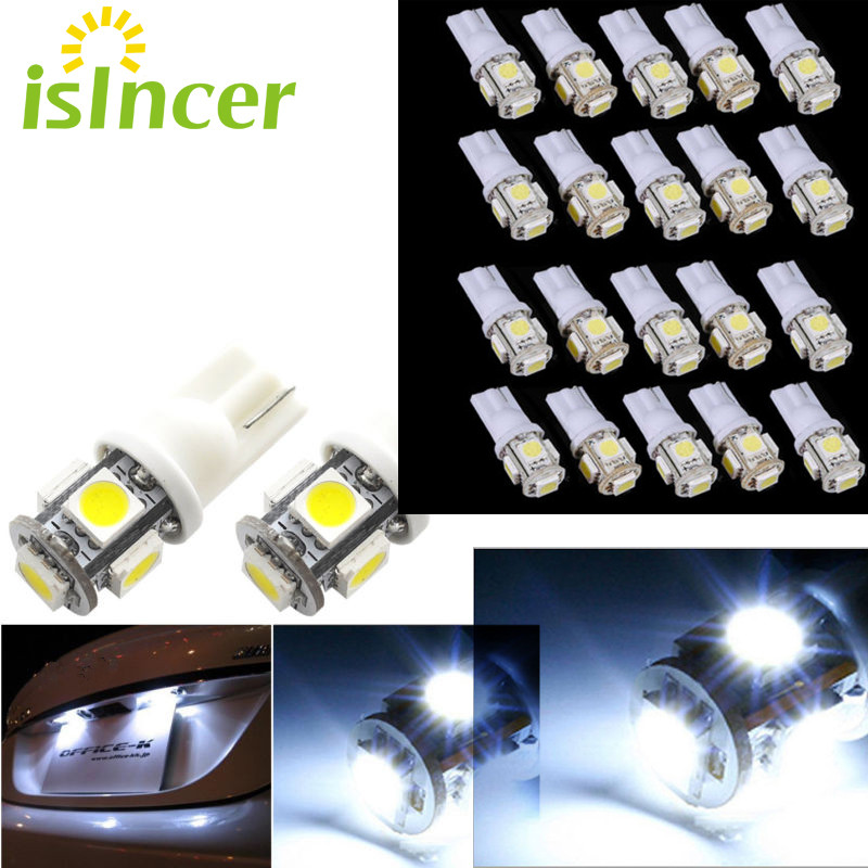 20x Bright White 194 168 T10 LED Bulbs Car License Plate Lights 12 Volts 6-SMD