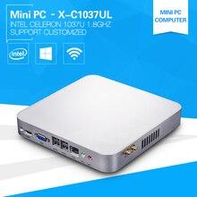 XCY Barebone Мини-ПК 1037UL Celeron Dual Core 1.8 ГГц Windows10 встраиваемых компьютеров с 6 * USB + HDMI DDR3 памяти mSATA