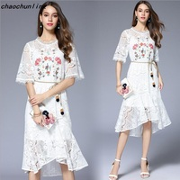 European Style Dresses Summer Women 2017 Small Fresh Floral Embroidery Lace Self Cultivation Most Popular Irregular