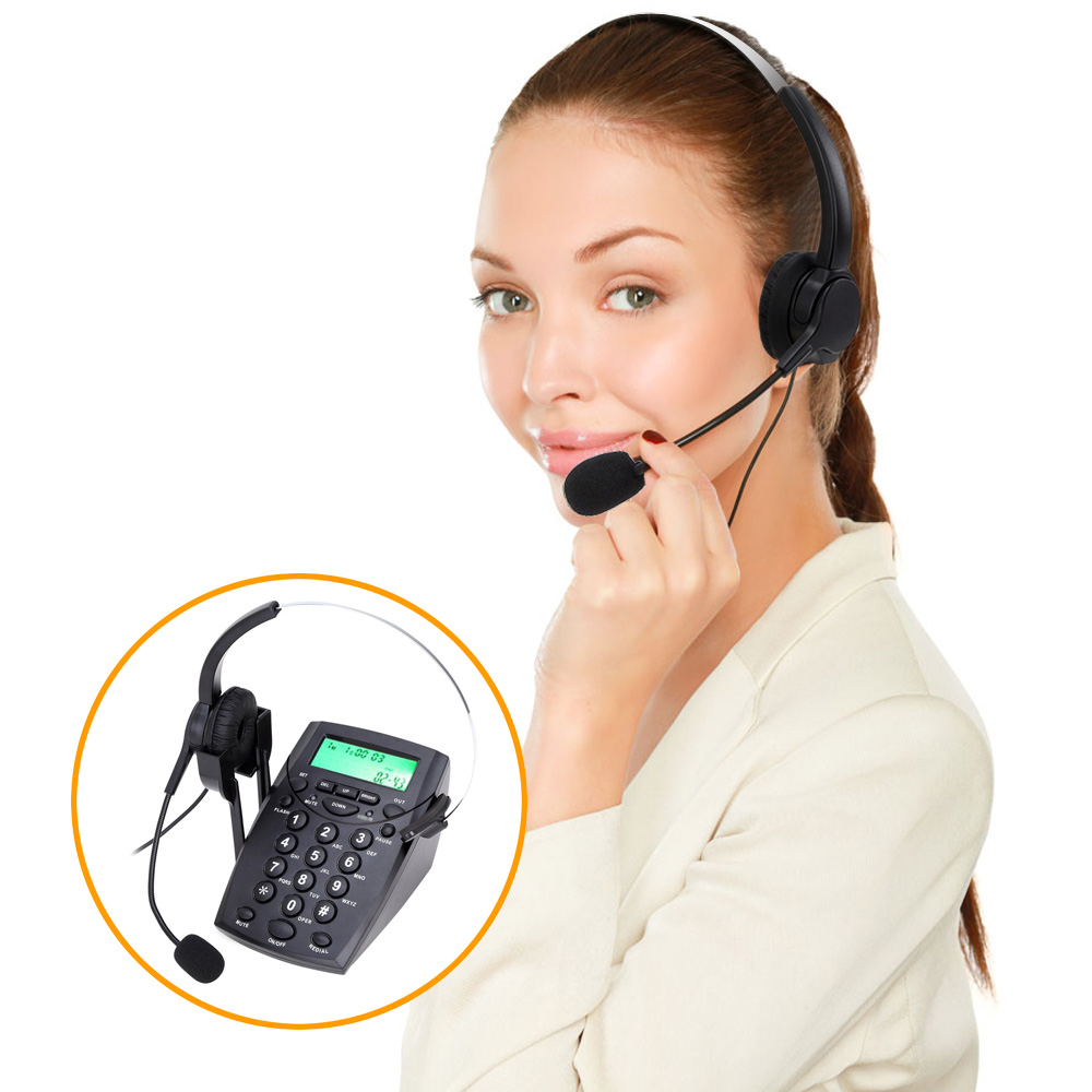 2016 New HT500 Headset Telephone Desk Phone Headphones Headset Hands-free Call Center Noise Cancellation Monaural with Backlight girl