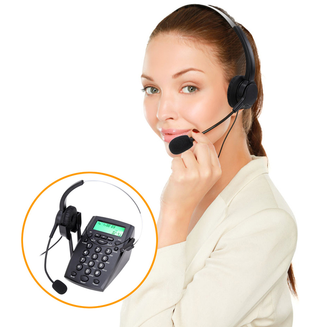 2018 Nova HT500 Fone De Ouvido de Telefone Telefone de Mesa Monaural Cancelamento de Ruído Fones De Ouvido Fone de Ouvido Hands-free Call Center com Backlight