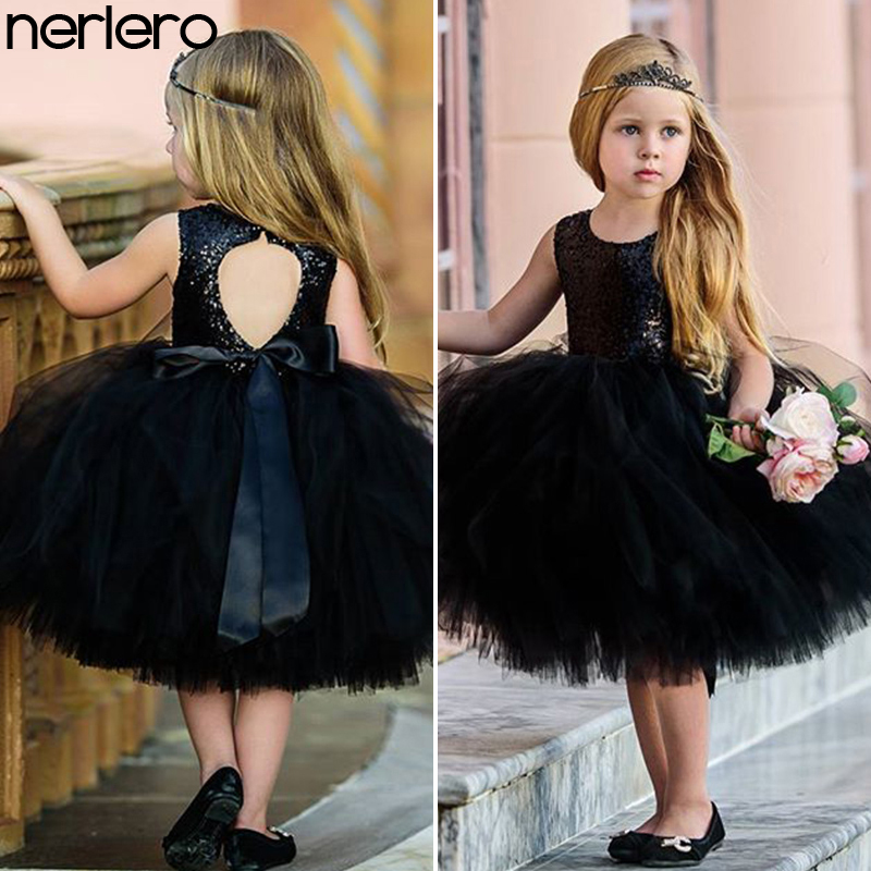 Nerlero Princess Kids Baby Fancy Wedding Dress Sleeveles Sequins Party Dress Girl Summer Dresses Baby Girl Clothes girl