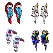 ZHINI Ethnic Handmade bead Cute Animal Parrot Bird Earrings Vintage Blue Crystal Feather Drop Earrings For Women Jewelry gift(China)