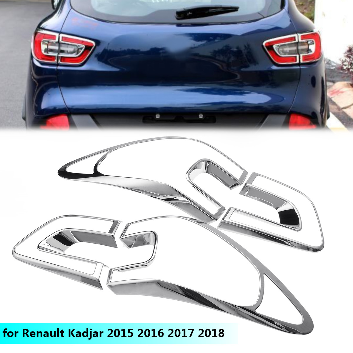 4pcs Car Tail Light Cover Trim Frame ABS Chrome Decoration for Renault Kadjar 2015 2016 2017 2018 Chromium Styling Accessories4pcs Car Tail Light Cover Trim Frame ABS Chrome Decoration for Renault Kadjar 2015 2016 2017 2018 Chromium Styling Accessories
