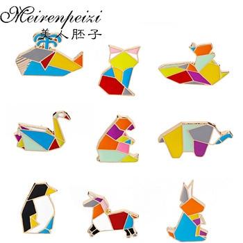 Милые эмалированные заколки в виде животных оригами, дизайнерские броши в виде слона, зайчика, медведя, белки, Кита, коня, пингвина, лисы