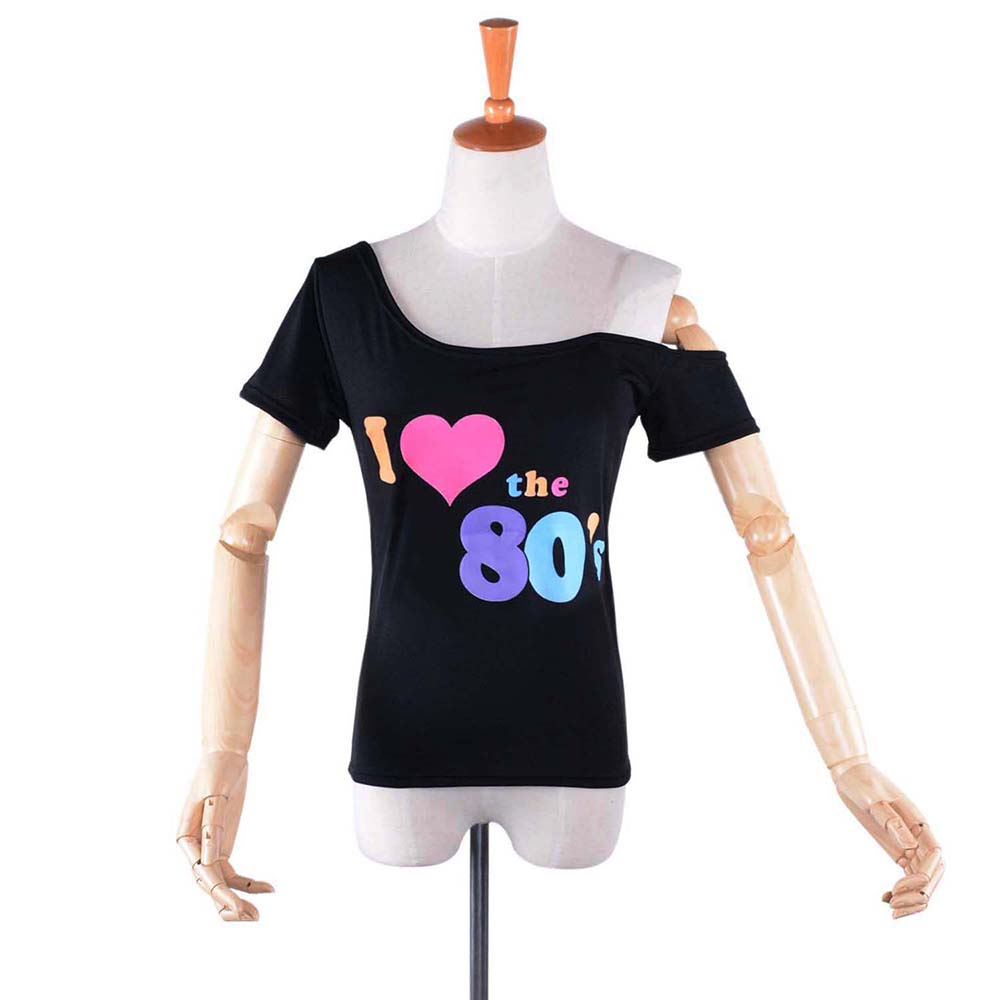 Womens Drop Tail Slounge T-Shirt I Love The 80s Print Ladies Off Shoulder Tee