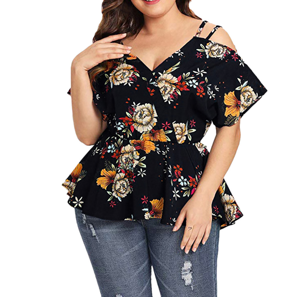 Plus Size Women's Shirt Short Sleeve Floral Printed Blouse For Ladies V-Neck Sling Peplum Top Female Blouse Elegant Waist blusas(China)