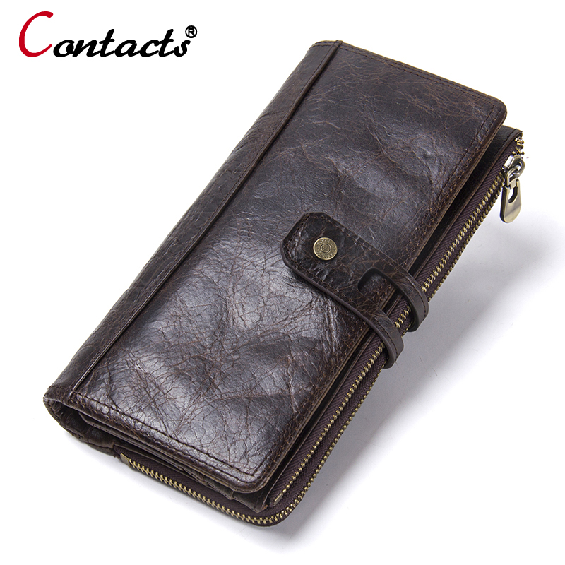 CONTACT'S Fashion Genuine Leather Men Wallet Women wallet designer coin Purse Female Card Holder men Clutch bags Money Bag New