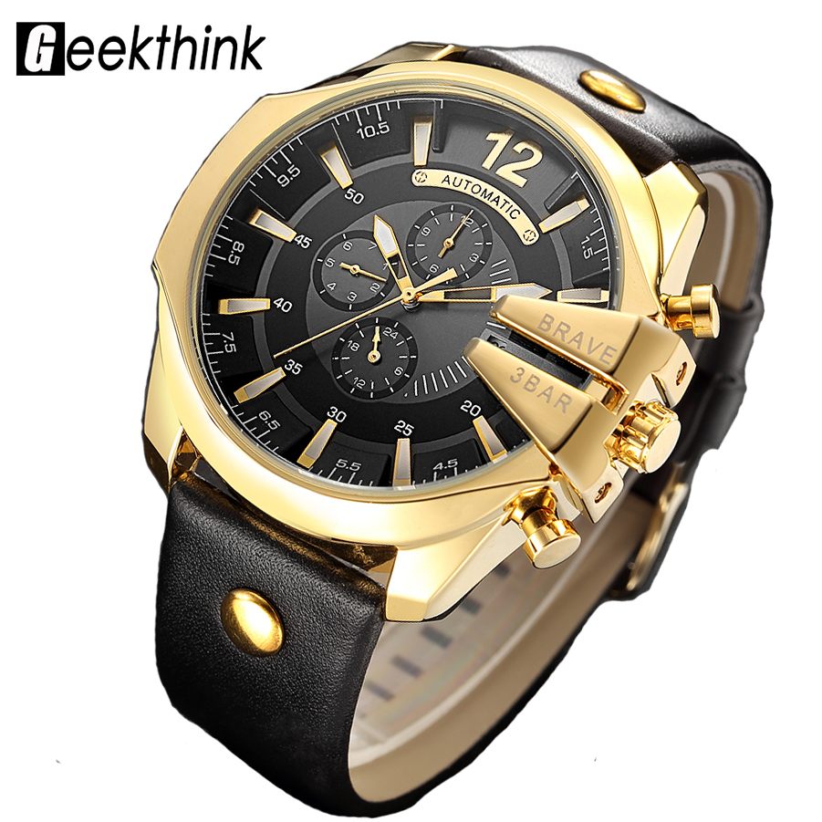 Big Dial Top Luxury Brand Automatic Mechanical Watch Men's Sports Self wind Wrist watch Leather strap Fashion Clock Male New mechanical watch automatic self wind skeleton female ladies wristwatch brand leather strap 2017 new fashion woman stylish lz309