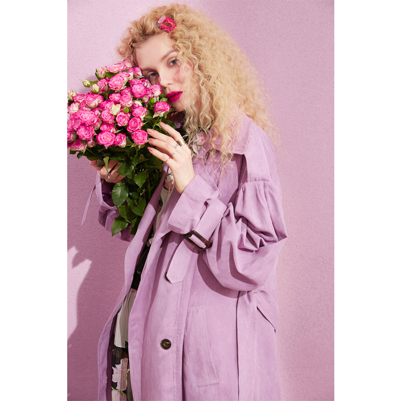 ELF SACK New Casual Trench Woman Solid Turn-down Collar Full Women Trench Coat Double Breasted Oversized Streetwear Femme Trench 2