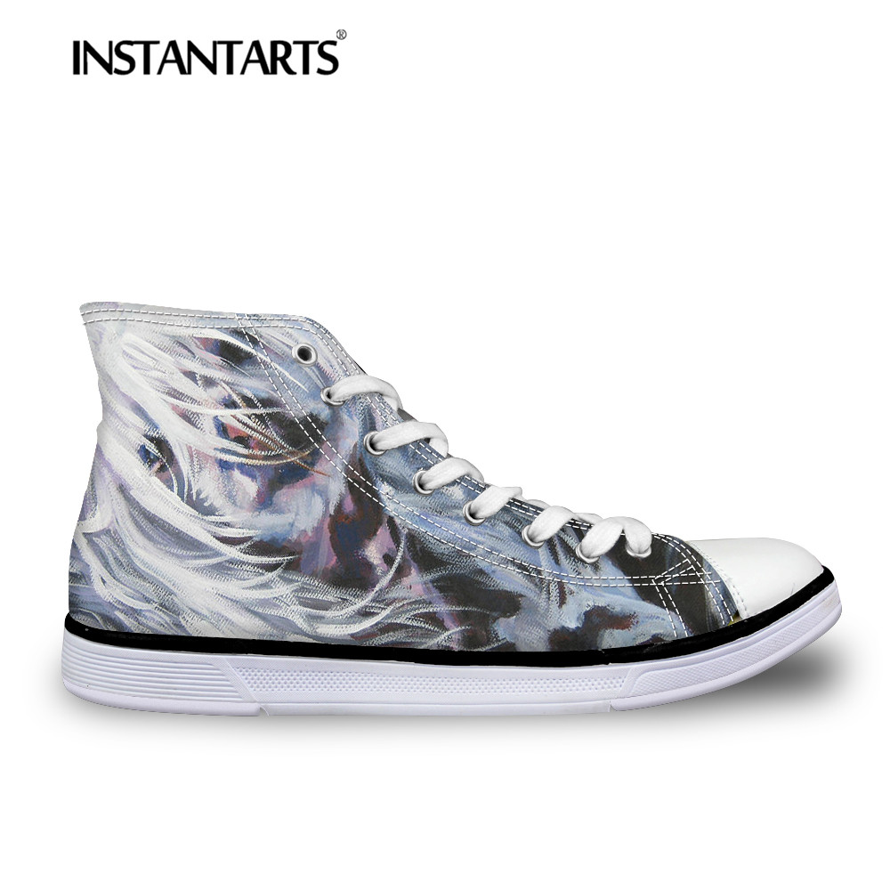 INSTANTARTS Chinese Crested Dog Flat Shoes Women's Vulcanize High-top Canvas Shoes Art Paint Print Breathable Lacing Casual Shoe e lov women casual walking shoes graffiti aries horoscope canvas shoe low top flat oxford shoes for couples lovers
