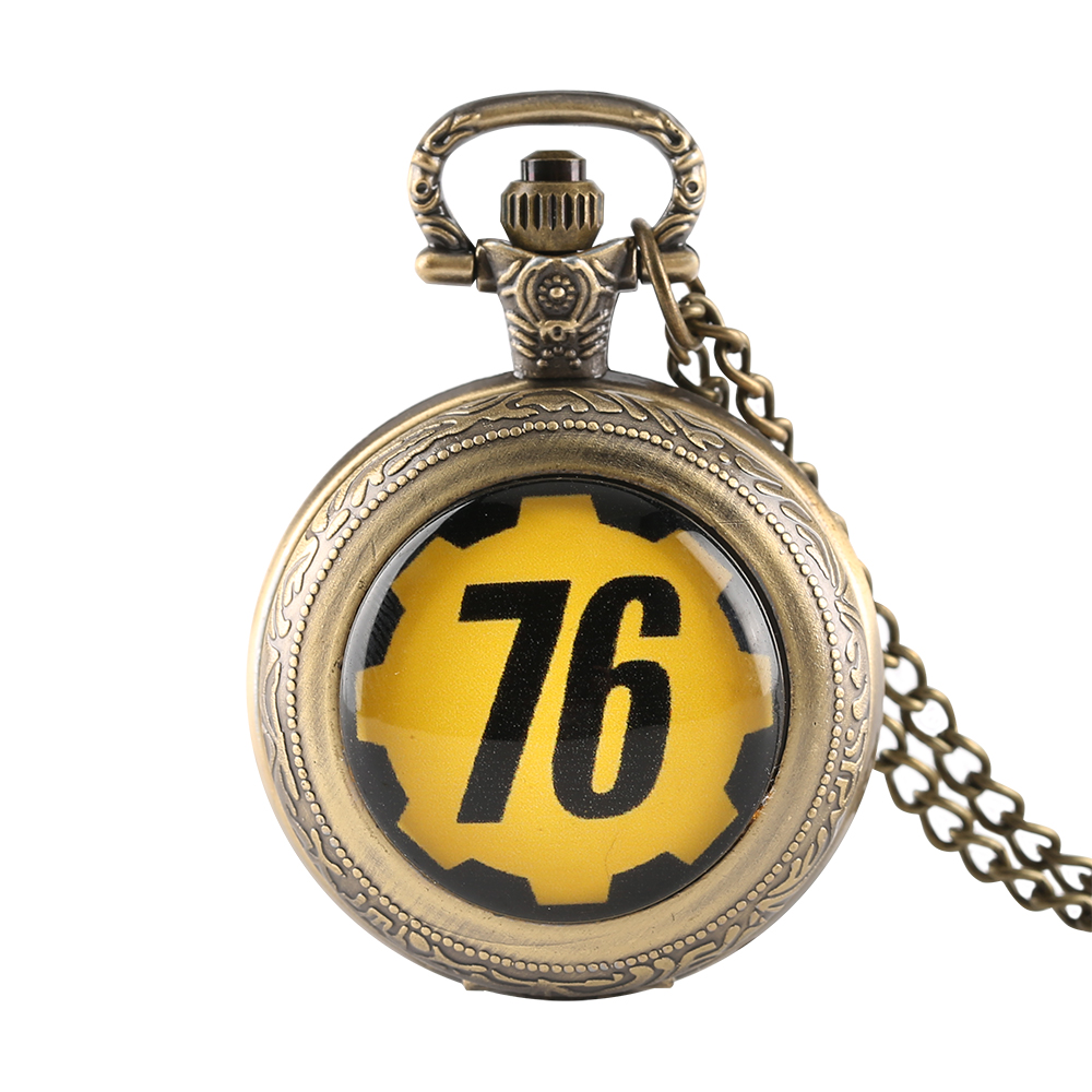 New Arrival Fashion FALLOUT 76 Theme Retro Quartz Pocket Watch Bronze Clock Male Pendant With Box Best Gift For Boys And Girls