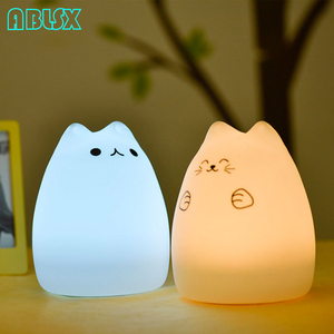 Image 5 - Free Star 7 Color Changed Night Light Cartoon Cat Nightlights For Children With Remote Control 3D Kitty Christmas Xmas Lamp Gift