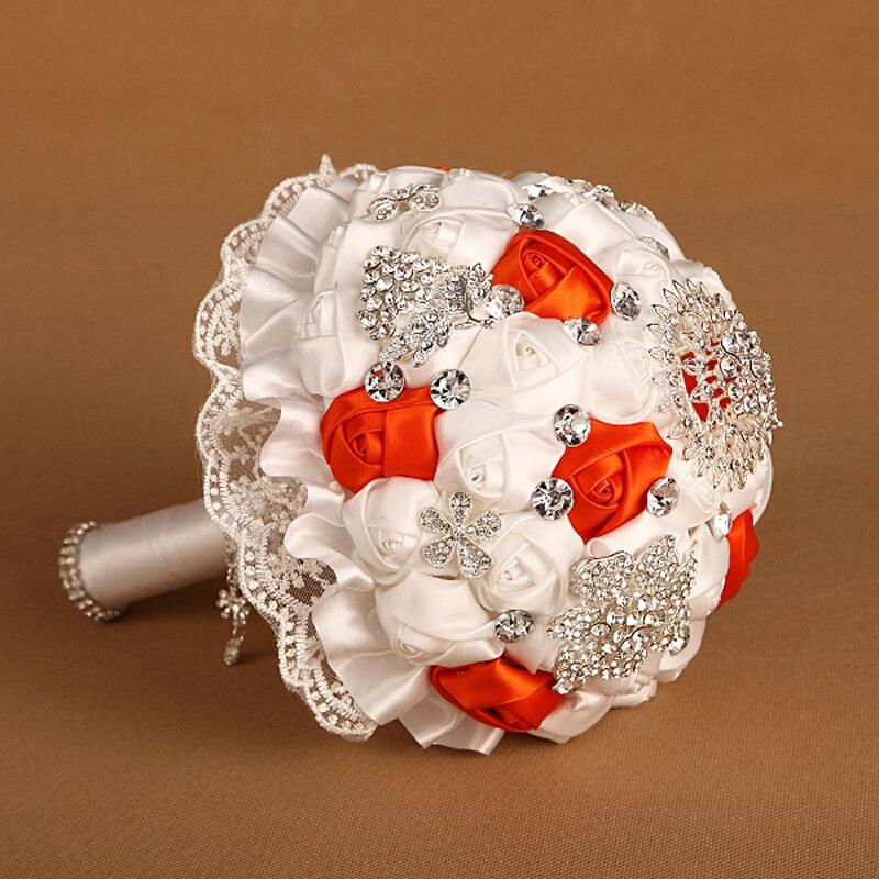 Bouquet de mariée fait à la main Orange Whiye Rose fleur avec cristal dentelle Bouquets de mariage mariée fleurs accessoires maison fournitures