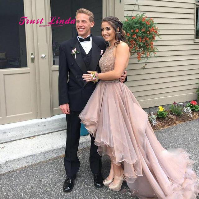 Us 138 48 11 Off High Low Wedding Guest Dresses Halter Top Beaded Women Formal Dresses For Wedding Women Dress For Wedding Party In Bridesmaid