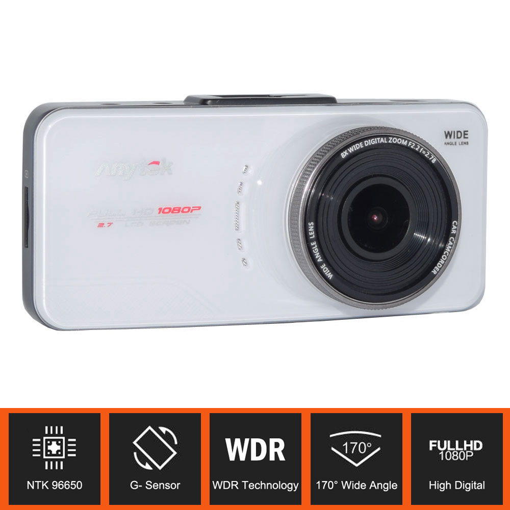 100% Original Anytek AT66A Car DVR 2.7 Inch NTK96650 Full HD 1080P 170 Degree G-Sensor H.264 WDR Car Video Recorder Support GPS автомобильный видеорегистратор anytek at66a 2 7 hd g wdr gps novatek96650 dashcam dvr gps