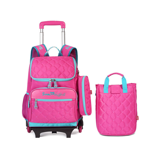 3 pcs pink school backpacks with wheels children school bags for girls pencilcase kids travel trolley bag bookbag cute backpack