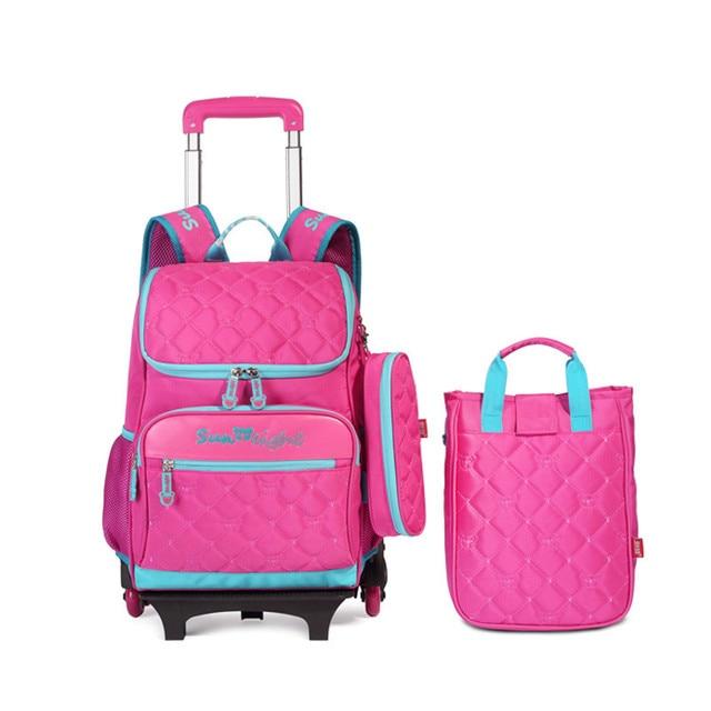 3 pcs pink school backpacks with wheels children school bags for girls pencilcase kids travel trolley bag bookbag cute backpack