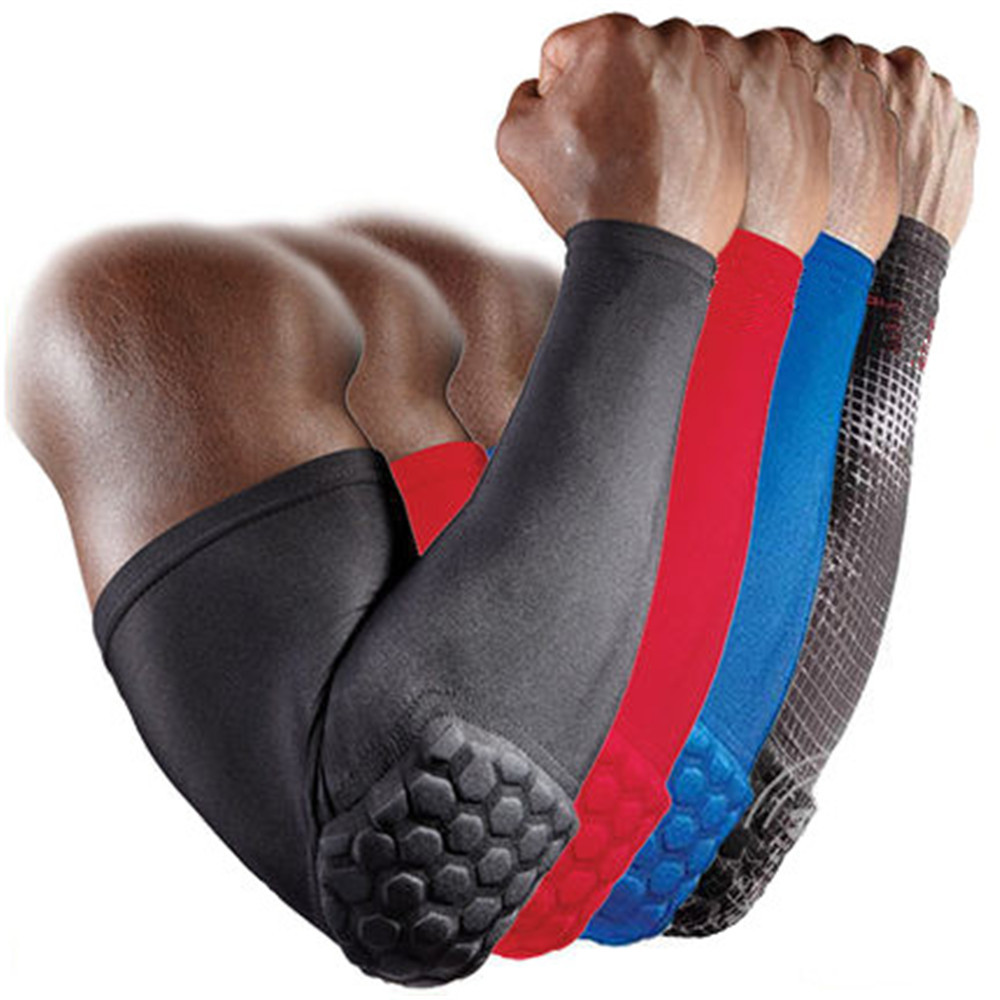 2017 Hot Sell Running Man Sports Arm Sleeve Cycling Compression Arm Warmers Elbow Protector Pads Support For Men Men's Arm Warmers