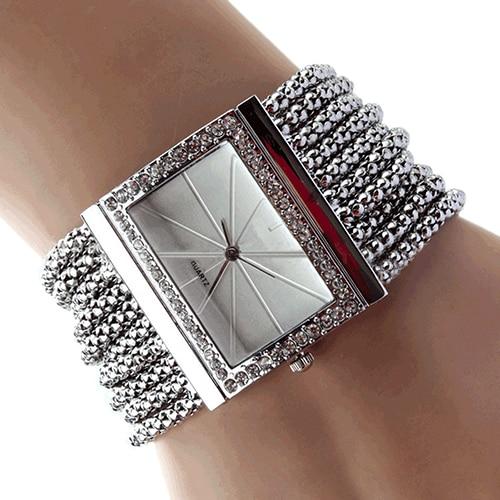 2017 New Fashion Alloy Silver Band Quartz Wtach Luxury Women Rhinestone Bangle Bracelet Watch Dress Ladies