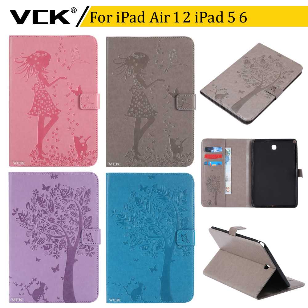 VCK Pattern TPU Flip leather For iPad Air 2 Air 1 iPad 5 iPad 6 Case Stand Ultra-Thin Slim Cover Colorful Cartoon Smart gorenje vck 2323 ap dy в украине