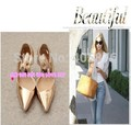 2015 new imported metal materials high-heeled shoes sexy ultra pointed pu  leather wedding shoes