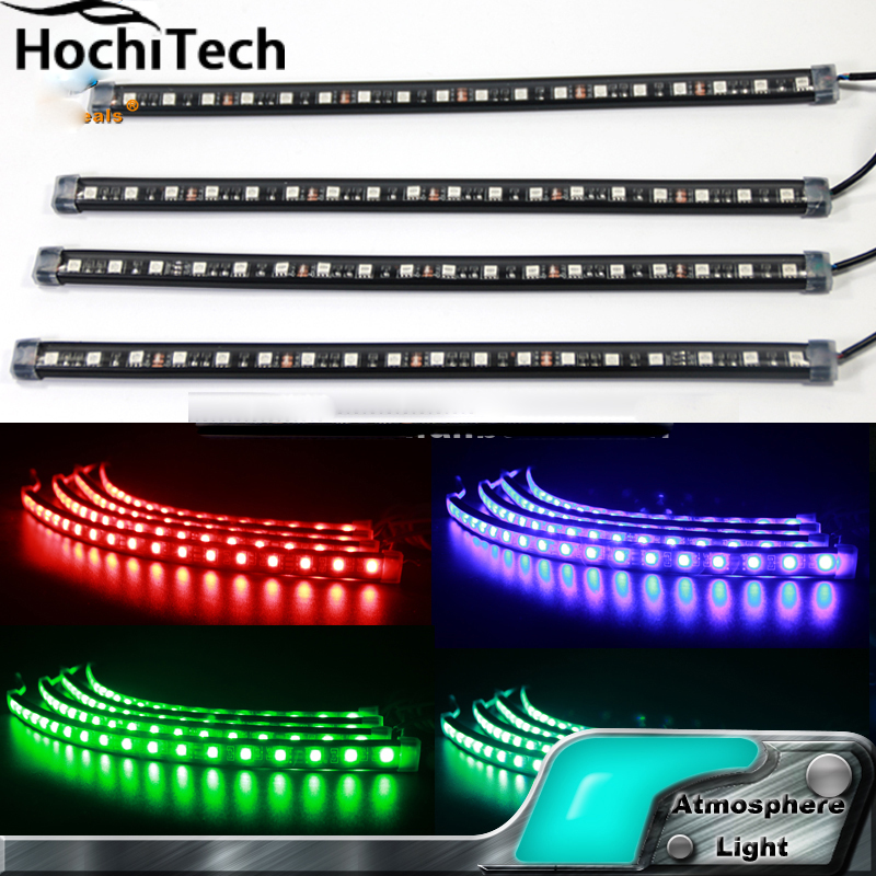 16 colors Car Interior light 12 LED strips atmosphere led ambient light 72 LED chip/set Wireless Remote Music Control RGB image