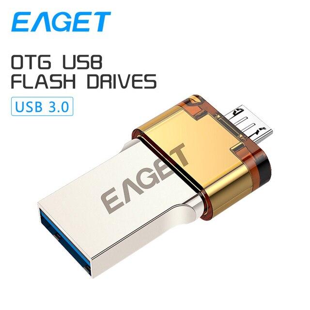 EAGET V80 Официальный 16 Г 32 Г Смартфон USB 3.0 Flash Drive флэш-Накопитель Micro USB otg usb stick Портативный Памяти Двойной Plug