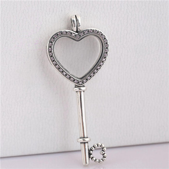 Large Size Real 925 Sterling Silver Floating Locket Heart Key Pendant Charm Fit Original Pandora Necklace Women DIY Jewelry Gift locket
