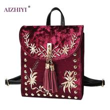 Women Embroidery Velvet Backpacks High Quality Embroidery Gold Flower Retro Backpack School Bags Women Mochila Sac A Dos Femme
