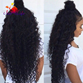 Hot Long Curly Synthetic Lace Front Wig With Baby Hair High Ponytail Kinky Curly Hair Cheap Wigs For Black Women In Stock