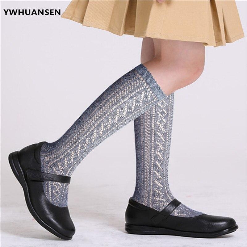 YWHUANSEN High Quality Summer Mesh Long Socks For Girls Cotton Loop Transfer Hollow Out Kids Socks For School Uniform Children