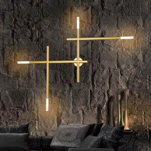 Image 1 - Modern Nordic เหล็กท่อ LED โคมไฟข้างเตียง Night Light ห้องนอนห้องนั่งเล่น Aisle Sconce โคมไฟติดผนัง Decor ART