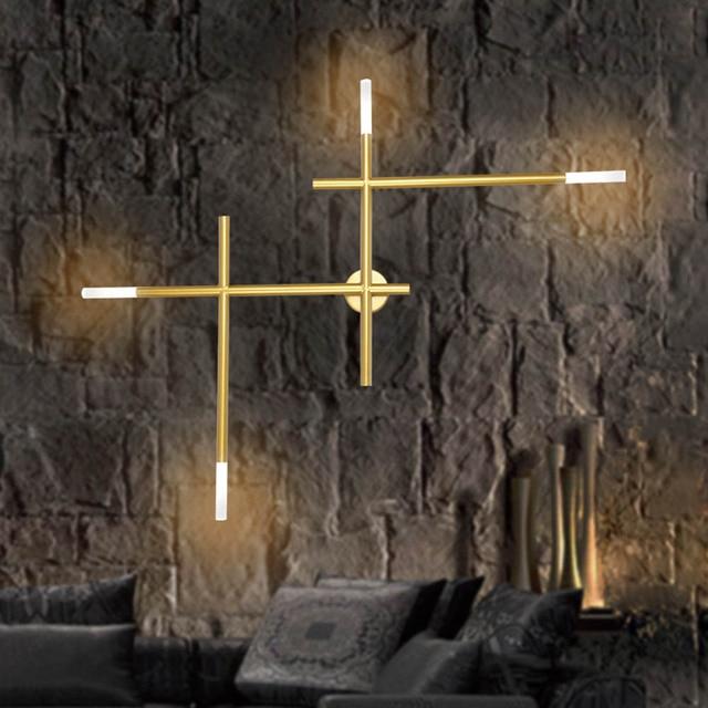 Modern Nordic เหล็กท่อ LED โคมไฟข้างเตียง Night Light ห้องนอนห้องนั่งเล่น Aisle Sconce โคมไฟติดผนัง Decor ART
