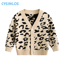 Kids Leopard Sweater Tops Children Boys Girls Autumn Winter Knitted Cardigan Sweater Coat New Toddler Jacket Outerwear Clothes