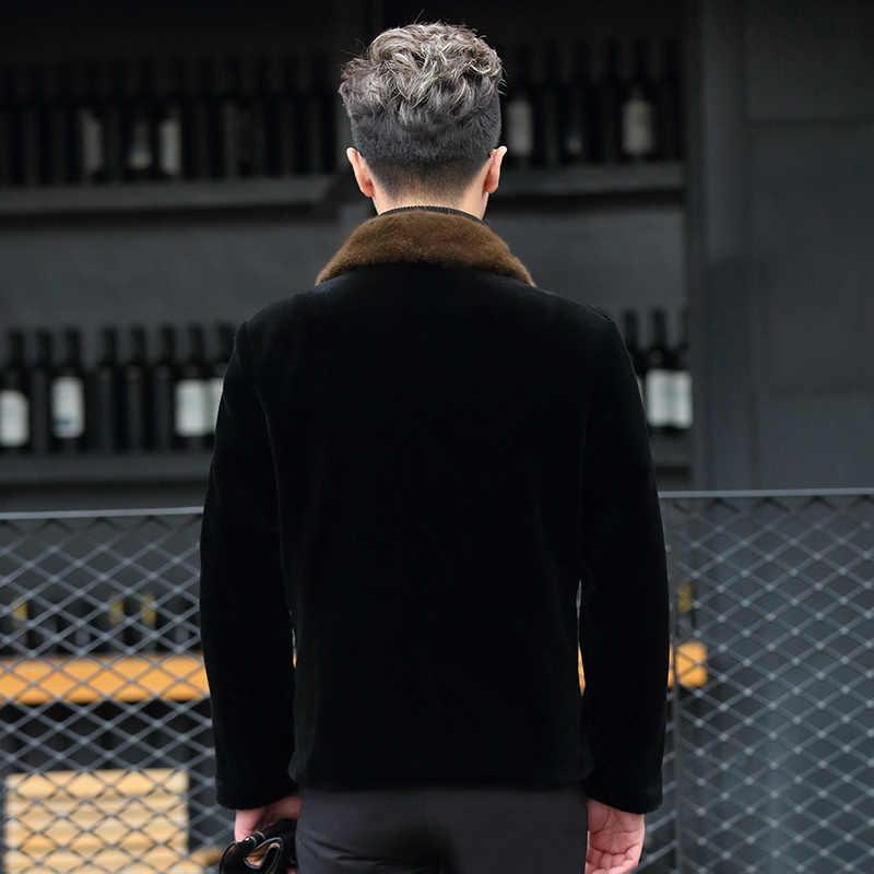 AYUNSUE пальто из натурального меха норки воротник зимняя куртка мужская короткая овечья стрижка пуховик пальто из шерсти альпаки LBL-DAF98001 KJ1377