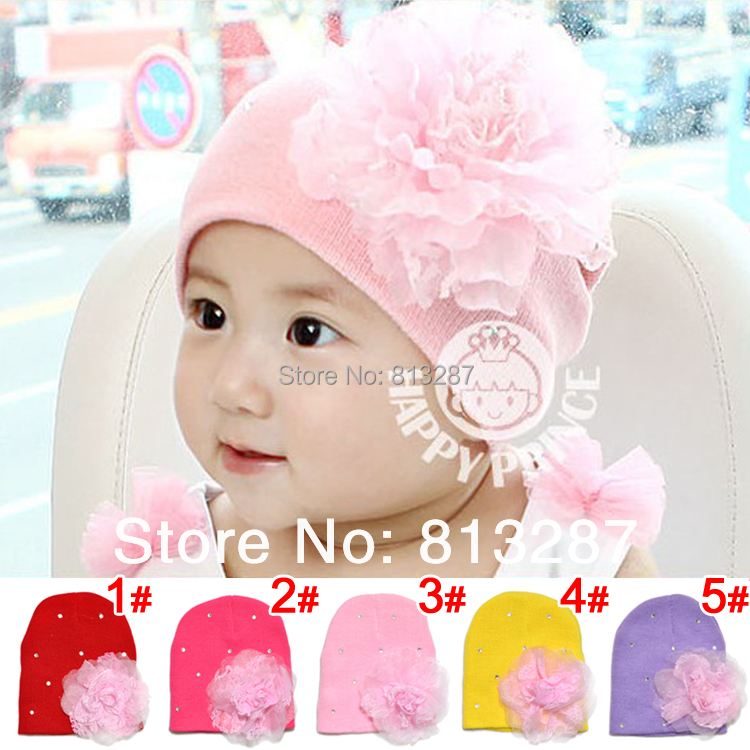 fd26f516d31 2015 New Cotton Knitted Infant Hats Winter Baby Cap With Big Flower crochet baby  beanies toddler fashion cap girls hat DH00027