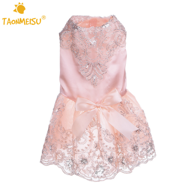 Tienda Online Vestido de boda del perro perrito gato 3D bordado Rosa ...