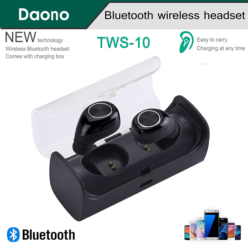 DAONO TWS Mini Twins True Stereo Bluetooth Earphone Wireless Headphones Headset Dual for iPhone with Charger Box Portable wireless headphones bluetooth earphone suitable for iphone samsung bluetooth headset 4 2 tws mini microphone